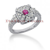 Designer Diamond and Ruby Ring 14K 0.48ctd 0.15ctr