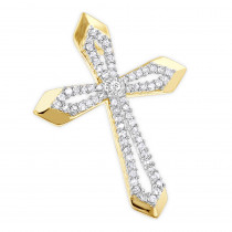 Small Designer Diamond Cross Pendant 0.25ct 10K Gold