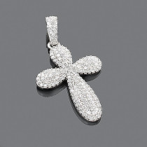 Designer Diamond Cross Pendant 14K 0.63ct