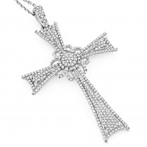 Designer Diamond Cross Pendant 14K Gold 1.31ct