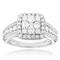 Designer Diamond Engagement Ring 1.29ct 14K Gold