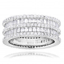 Designer Eternity Rings 4.5 Carat Round Baguette Diamonds Band 14K Gold