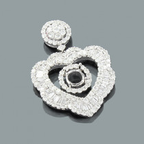 Designer Diamond Heart Pendant Semi Mount 3.26ct 18K Gold