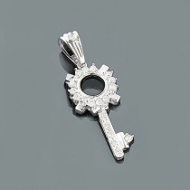 Designer Diamond Key Pendant 0.32ct 14K Gold