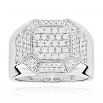 Designer Diamond Rings For Men by Luxurman 14k White Gold