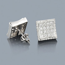 Designer Diamond Stud Earrings 14K 1.28ct