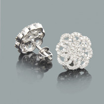 Designer Diamond Swirl Earrings 0.52ct 14K Gold
