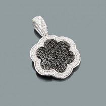 Designer Flower Pendant with Black and White Diamonds 0.70ct 14K
