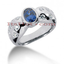 Designer Gemstone Jewelry: Diamond and Sapphire Ring 14K 0.70ctd 0.75cts