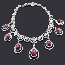 Designer Gemstone Necklaces: Diamond Ruby Necklace 18K 36.26ct 74.83