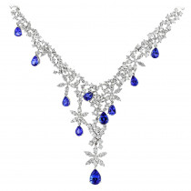 Designer Jewelry collection: Diamond Tanzanite Chandelier Necklace 18K Gold