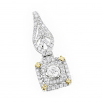 Designer Jewelry: Ladies White and Yellow Diamond Pendant 0.8ct 14K Gold