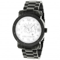 Designer Large Watches: Luxurman Phantom Black Diamond Watch for Men 0.12ct
