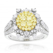 Designer Luxurman Ladies White Yellow Diamonds Flower Ring 2ct 14k Gold