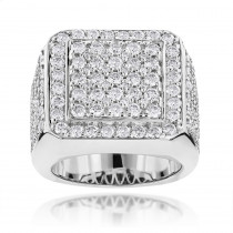 Designer Mens Diamond Ring 6ct 14k Gold
