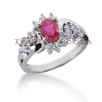 Designer Ruby Engagement Ring with Diamonds 14K 0.42ctd 0.75ctr
