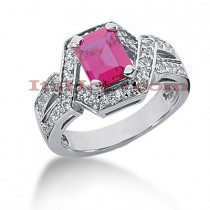 Designer Ruby Rings: 14K Gold Diamond Engagement Ring 0.51ctd 1.25ctr