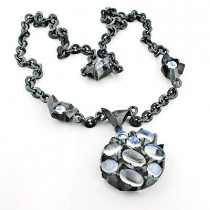 Designer Silver Jewelry: Moonstone Space Necklace