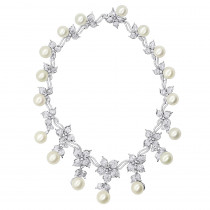 Designer South Sea Pearl and Diamond Necklace Flower Design 18k gold