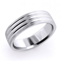 Designer Three Lines Solid Platinum Mens Wedding Band