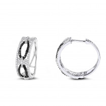 Designer White Black Diamond Hoop Earrings 0.9 ct 14K