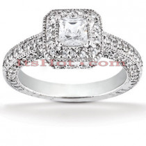 Halo Diamond 18K Gold Engagement Ring Setting 0.75ct