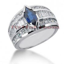 Diamond and Blue Sapphire Engagement Ring 14K 2.34ctd 1.25cts