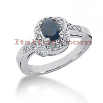Diamond and Blue Sapphire Engagement Rings: 14K Gold Ring 0.26ctd 0.75cts