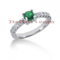 Thin Diamond and Emerald Engagement Ring 14K 0.20ctd 0.50cte