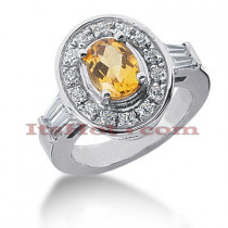 Diamond and Yellow Sapphire Engagement Ring 14K 0.91ctd 1.25cts