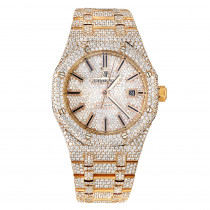 Diamond Audemars Piguet Royal Oak 41mm Full Pave Dial Bracelet Rose Gold Watch