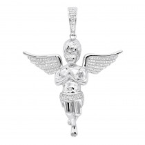 Diamond Baby Angel Pendant for Men in Solid 10k Gold by Luxurman 0.5ct