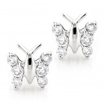 Ladies Diamond Butterfly Earrings Studs 1/2ct 14K Gold