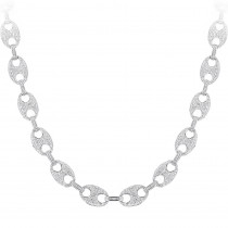 Diamond Chains 14K Gucci Link Diamond Necklace 24.52ct