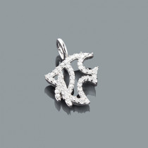 Diamond Charms: Cute Diamond Fish Pendant 0.17ct 10K Gold