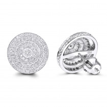 Large Diamond Circle Earrings Studs in Sterling Silver 0.22ct