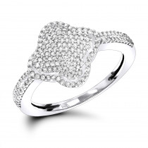 Diamond Clover Ring for Women 14K Gold 0.4ct