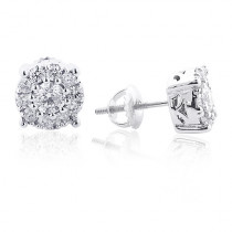 Diamond Cluster Earrings 14K 1.38ct Studs