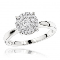 Diamond Cluster Engagement Ring 0.55ct 14K