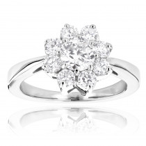 Ladies Diamond Cluster Rings: 14K Gold Diamond Flower Ring 1.2ct