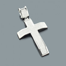 Diamond Cross Pendant Sterling Silver 1.24ct