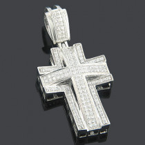 Diamond Cross Pendants 14K Gold Diamond Cross 0.57ct