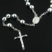 Diamond Cut Solid 14K White Gold Rosary Bead Necklace