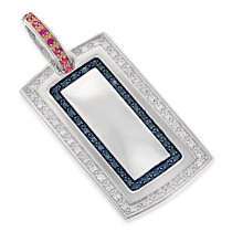 Diamond Dog Tag Military Pendant With Rubies & Diamonds 1.25ct 14K Gold