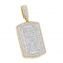 Diamond Dog Tags 10K Gold Iced Out Small Dog Tag Pendant by Luxurman