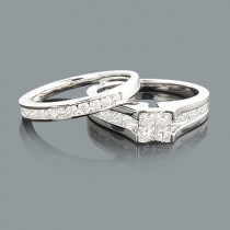 Diamond Engagement Ring Set 1.07ct 14K Princess Cut Round