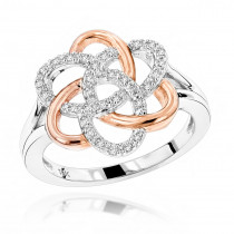 Diamond Flower Ring in Rose Gold 0.13ct 10K Gold