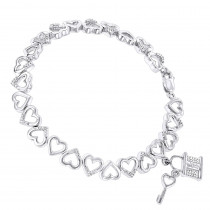 Diamond Heart Bracelet 0.15ct Sterling Silver