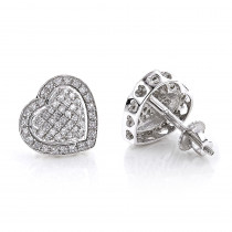 Diamond Heart Earrings Studs: 10k Gold Pave Diamonds 0.5ct