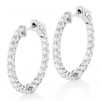 1in Diamond Hoops 14K Gold Inside Out Diamond Hoop Earrings for Women 2.2ct